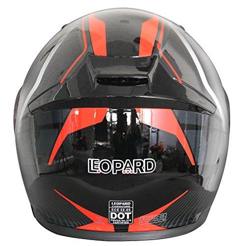 Leopard LEO-888 Fullface Helm Klapphelm Jethelme Motorrad Roller mit Doppelvisier Motorradhelm Damen und Herren Integralhelm ECE Genehmigt #5 Rot/Grau/Schwarz XL (61-62cm)