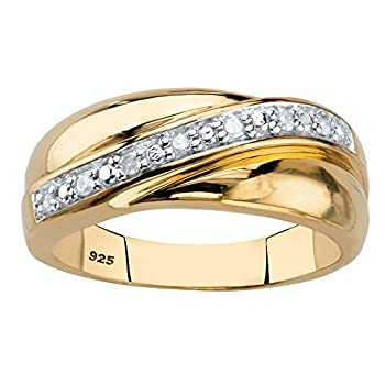 Men s 18K Yellow Gold over Sterling Silver Round Genuine Diamond Wedding Band Ring  1/10 cttw I Color I3 Clarity  Size 9