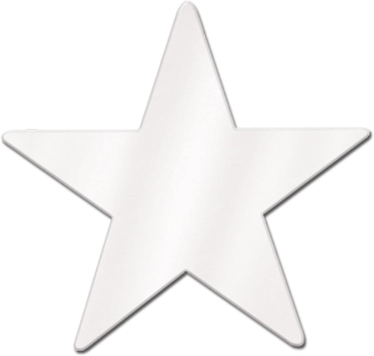 Club Pack of 24 Starry Night Themed White Metallic Foil Star Cutout Party Decorations 15