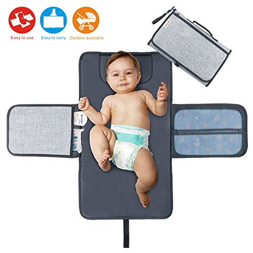 Idepet Portable Nappy Changing Mat,Waterproof Diaper Changing Pad with...