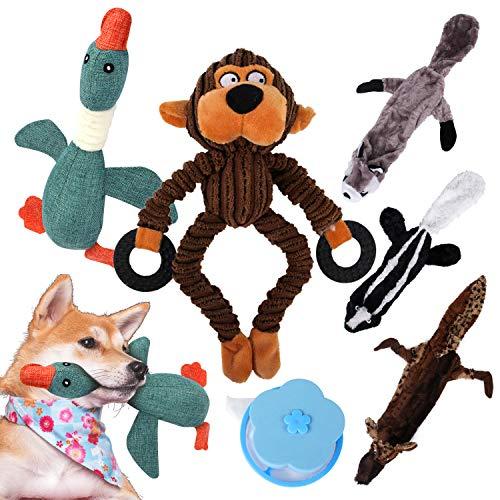 Juguete para Perros - 5 Piezas de Juguetes de Peluche para Cachorros Pequeños con Sonidos, Incluye 3 Juguetes sin Relleno y 2 con Relleno, 1 Removedor de Pelos para Mascotas, de MyfatBoss