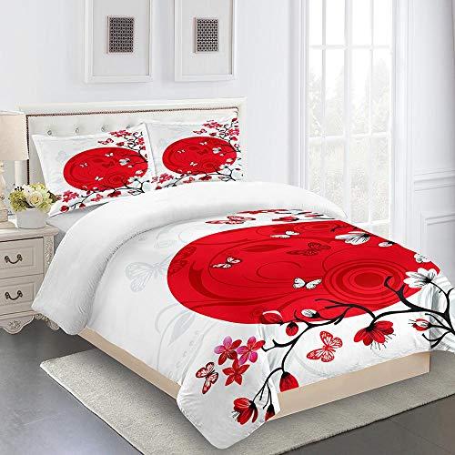 FFBYQ Duvet Bedding Set With 3D Plum Blossom,Printed Duvet Cover Zipper Closure Hypoallergenic Soft Microfiber Comforter Quilt Cover140X200Cm