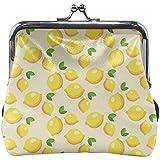Fruit Lemon Yellow Cute Wallpaper Cuero Floral Monedero Monedero Bolsa de Embrague Cartera para Mujer