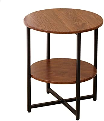 Nordic Small Round Table, Small Coffee Table, Solid Wood Table top, Bedside Table Shelf, Portable,47x40cm Suitable for Living Room and Bedroom (Size : G)