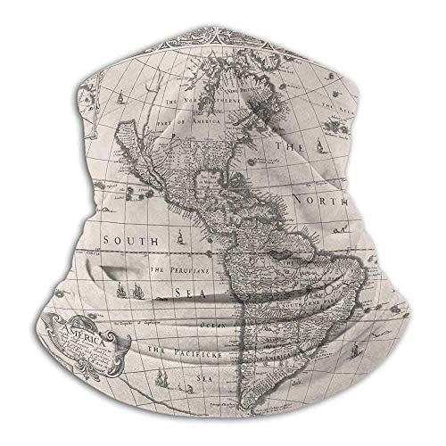Linger In Weltkarte Antike Karte Amerika im 17. Jahrhundert Welt im Mittelalter Antike Ära im Stil Halswärmer Hals Gamasche Sturmhauben