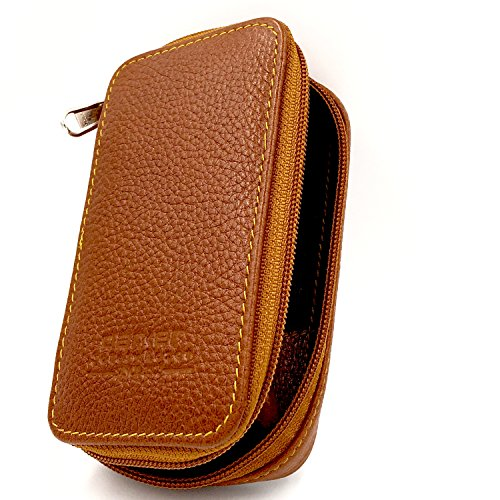 Genuine Leather Double Edge Safety Razor Zippered Travel Case with...