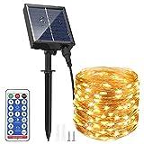AUOPLUS 30M 300 LED Guirnalda Luz Exterior Solar,Cadena de Luces Blanco Cálido,8 Modos,Decoración para Navidad,Fiestas,Bodas,Patio,Dormitorio,Jardines, Festivales