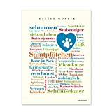 Lienzo con palabras de gatos, Tagcloud con términos redondos. Una original decoración de pared y hermosa idea de regalo – bastidor 20 x 30 cm
