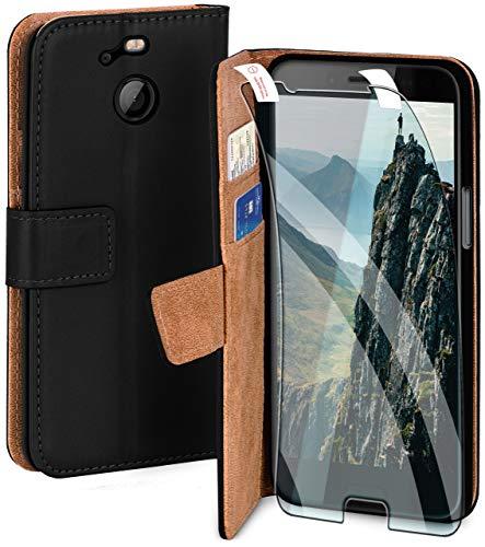 moex Handyhülle für HTC 10 Evo - Hülle mit Kartenfach, Geldfach & Ständer, Klapphülle, PU Leder Book Hülle & Schutzfolie - Schwarz