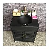 Mueble Lavabo Con Pie Baño Estilo Industrial, Pica Bano Con Mueble De Hierro Forjado Con Combinación De Grifo Y Drenaje, Lavamanos Pedestal Retro De Una Pieza(Color:Mueble de lavabo negro para lavabo)
