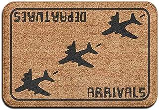 BLSYP Felpudo Arrivals Departures Aviation Hello Goodbye Super Absorbent Anti-Slip Mat Indoor/Outdoor Decor Rug Doormat In...