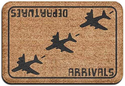 BLSYP Felpudo Arrivals Departures Aviation Hello Goodbye Super Absorbent Anti-Slip Mat Indoor/Outdoor Decor Rug Doormat Inch Home Decor