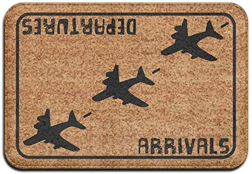 BLSYP Felpudo Arrivals Departures Aviation Hello Goodbye Super Absorbent Anti-Slip Mat Indoor/Outdoor Decor Rug Doormat Inch Home Decor