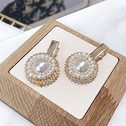 Accessoires pour cheveux Alliage de tempérament simple incrusté de perles petit clip de bec de canard frange en épingle à cheveux en épingle à cheveux dame-blanc