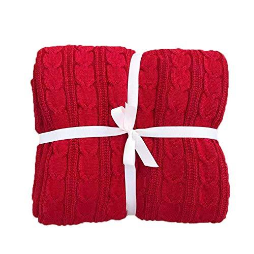 GuoCu Manta de Punto Suave Cálido Tejer Elegante Cobertura para Ver la televisión en la silleta, sofá y Cama Rojo 150 * 200cm