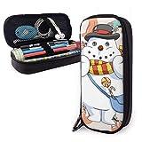 Estuche para lápices de cuero PU con muñeco de nieve navideño de perezoso de dibujos animados, organizadores de papelería duraderos para estudiantes para la oficina de la escuela 1.5inx3.5x8 in