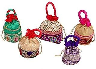 Kuber Industries 5 Piece Women's Cotton Potli Bag, Make Up Bag, Handbag, Multicolour (KI7829)