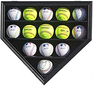 Softball or Baseball Display Case Cabinet Wall Rack Home Plate Shaped w/UV Protection B09