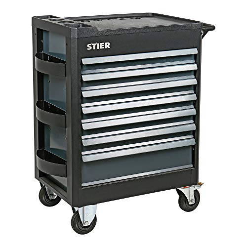 STIER Werkstattwagen Premium, mit Kunststoffabdeckung, Schubladen mit Soft Close Funktion, leer und unbestückt, Werkzeugwagen, Montagewagen, max. 500kg
