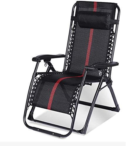 Silla de gravedad cero, silla plegable ajustable de múltiples ángulos, tela encriptada, sillón reclinable pequeño y antiguo, utilizado para acompañar la cama,Black