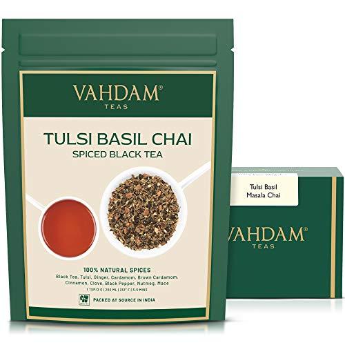 VAHDAM, Tè Al Basilico Tulsi, 100gr (50 tazze), Tè Al Basilico Santo   Tè Tulsi con SPEZIE NATURALI 100%   Tè speziato di Chai con foglie sciolte   Herbal Tea dall'India