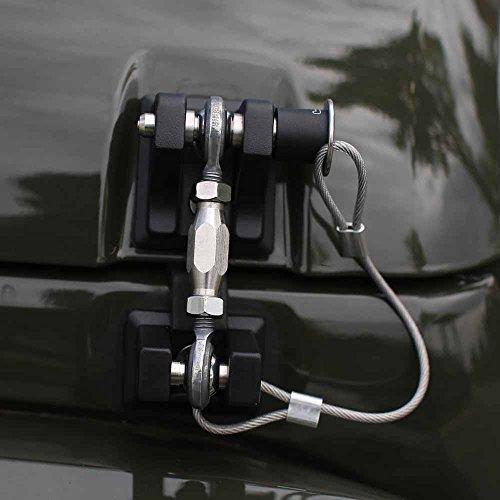 Bosmutus Replacement for Jeep Wrangler 2007-2017 JK Rubicon Vintage Slim Stainless Steel Grip Kit Combination Door Lock JK Double Door Unlimited Accessories (Black)
