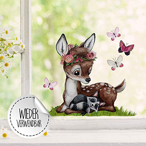 Fensterbilder Fensterbild Fuchs Reh & Hasen mit Pusteblume Osterkorb Ostern wiederverwendbar Fensterdeko bf23 - ausgewählte Farbe: *bunt* ausgewählte Größe: *10. Reh mit Waschbär*