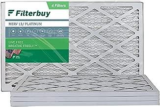 FilterBuy 10x20x1 Air Filter MERV 13, Pleated HVAC AC Furnace Filters (4-Pack, Platinum)