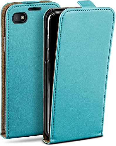 moex Flip Hülle für BlackBerry Z30 - Hülle klappbar, 360 Grad Klapphülle aus Vegan Leder, Handytasche mit vertikaler Klappe, magnetisch - Türkis