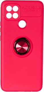 Fashion Auto Focus Silicone Back Cover with Metal Ring For Samsung Galaxy A15S Mobile Phone - Red