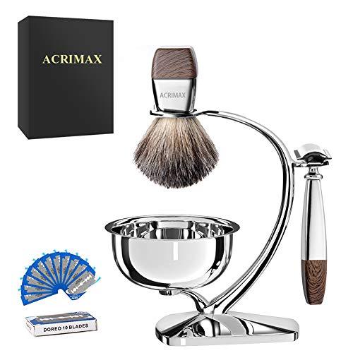 ACRIMAX Luxury Shaving Kit for Men, Badger Shaving Brush Set with Shave Soap, Durable Shaving Razor Brush Stand and Stainless Steel Soap Bowl Set for Gentleman Safety Razor