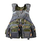 JKSPORTS Fly Fishing Vest, Fishing Safety Life Jacket for Swimming Sailing Boating Kayak Floating Multifunction Breathable Backpack for Men and Women Vest/Kayak (Army Green, with Foam)