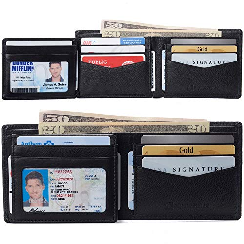 alpine swiss Men's Genuine Leather Wallet