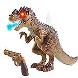 deAO Dinosaurio Robot Inteligente y Pistola de Bengala Conjunto de Juguete Cazador de Bestias T-Rex con Luces, Sonidos y Efecto de Humo Juguete Interactivo Multifuncional