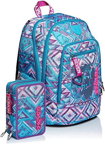 Schoolpack Zaino Scuola Seven Advanced Wild Feeling Blu + Astuccio 3 Zip Completo