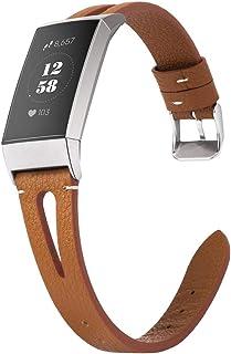 【Amazon限定ブランド】Fitbit Charge 3 バンド/Fitbit Charge4 バンド フィットビット チャージ3レザーバンド Wearlizer fitbit charge 3 レザーベルト fitbit charge3 ...