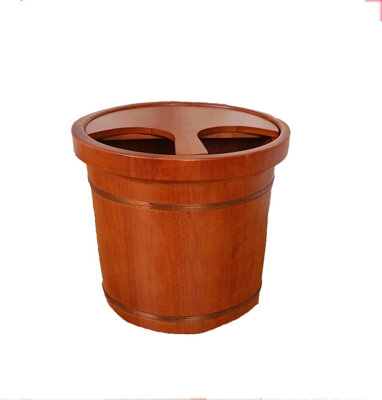 YXN Oak Fubad Barrel mit Deckel Holzfu Badewanne Adult Footbath Badewanne Home Fubad Erhhung Eimer 35 Cm