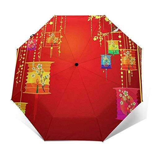 Regenschirm Taschenschirm Kompakter Falt Regenschirm, Winddichter, Auf Zu Automatik, Verstärktes Dach, Ergonomischer Griff, Schirm Tasche, Laterne während Mitte