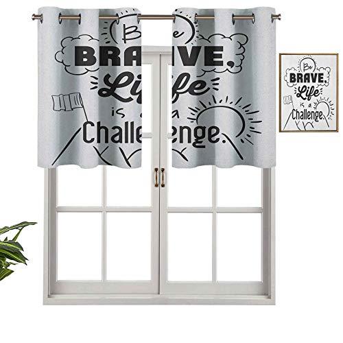 Hiiiman Cenefa de diseño moderno con aislamiento térmico para ventana Be Brave Life is a Challenge Incentive Enduring Mountain Peak Sunrise Flag Art, juego de 2, 137 x 60 cm para habitación de niños