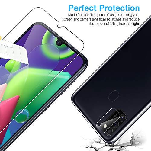 LK 6 Stück Schutzfolie Kompatibel mit Samsung Galaxy M21 Panzerglas, 3 Schutzfolie und 3 Kamera Panzerglas, 9H Härte Schutzfolie, HD Klar Displayschutz, Kratzen Blasenfrei Einfacher Montage