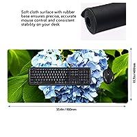 あじさい ブルー マウスパッド ゲーミングマウスパット デスクマット キーボードパッド 滑り止め 高級感 耐久性が良い デスクマットメ キーボード パッド おしゃれ ゲーム用(90cm*40cm)