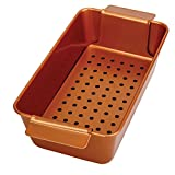 Copper Meatloaf Pan Non-Stick 2-Piece Healthy Meatloaf Set, 12-Inch-by-5.75-Inch