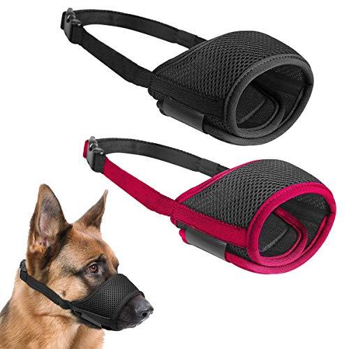 Osuter 2PCS Bozal Perros Anti-Mordedor Malla Transpirable Bozal Mascotas Ajustable Boca para Perros Mascota(M, Rojo y Negro)