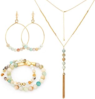 Gemstone Jewelry Set, Dangle Earrings, Necklace and Bracelets Set