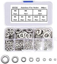 Roestvrij staal Flat Washer, 360 stks Verschillende Platte ringen M2-M10 Ronde Spacer Washer Flat Lock Washer Kit Metrisch...