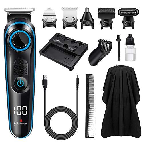 EIVOTOR Cortapelos Hombre Profesional & Recargable Máquina Afeitar & Barbeador Electrico & Cortapelo Recortador, Afeitadora 5 en 1 Afeitar de Barba/Cara/Cuerpo (Azul 1)
