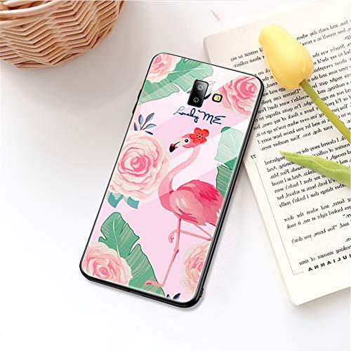 Ysimee HandyHülle kompatibel mit Samsung Galaxy J6 Plus 2018 Hülle - Gehärtetes Glas Zurück mit Weiche TPU Silikon Rahmen Schutzhülle Matt Silikon Bumper Schutz vor Stoßfest/Scratch Hülle, Flamingo