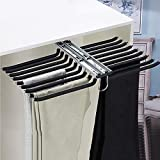 KDDFN Pull-Out Trousers Rack Drawer,Pants Hangers,Multi Functional Pants Rack,Space Saving,Easy Installation,Non-Slip,Can Store 18 Pairs of Pants (Black)