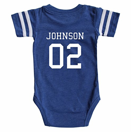 Custom Football Sport Jersey Baby Bodysuit Personalized with Name and Number (Newborn, Vintage Royal)