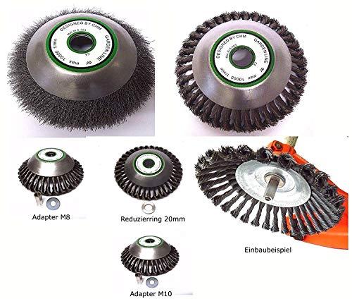 ! PROFI ! Wildkrautbürste Motorsense hart od. soft 25,4 x 200 mm mit verschiedenen Adapter-Sets zur Auswahl für alle Motorsensen auf dem Markt. Hohe Standfestigkeit ! (Bürste soft m. Adapter M10)